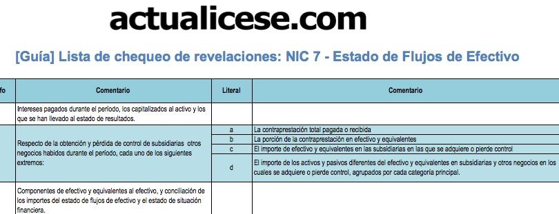 [Guía] Revelaciones exigidas por la NIC 7: Estado de Flujos de Efectivo