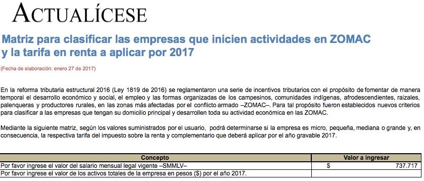 Matriz para clasificar empresas que inicien actividades en ZOMAC y tarifa en renta a aplicar por 2017