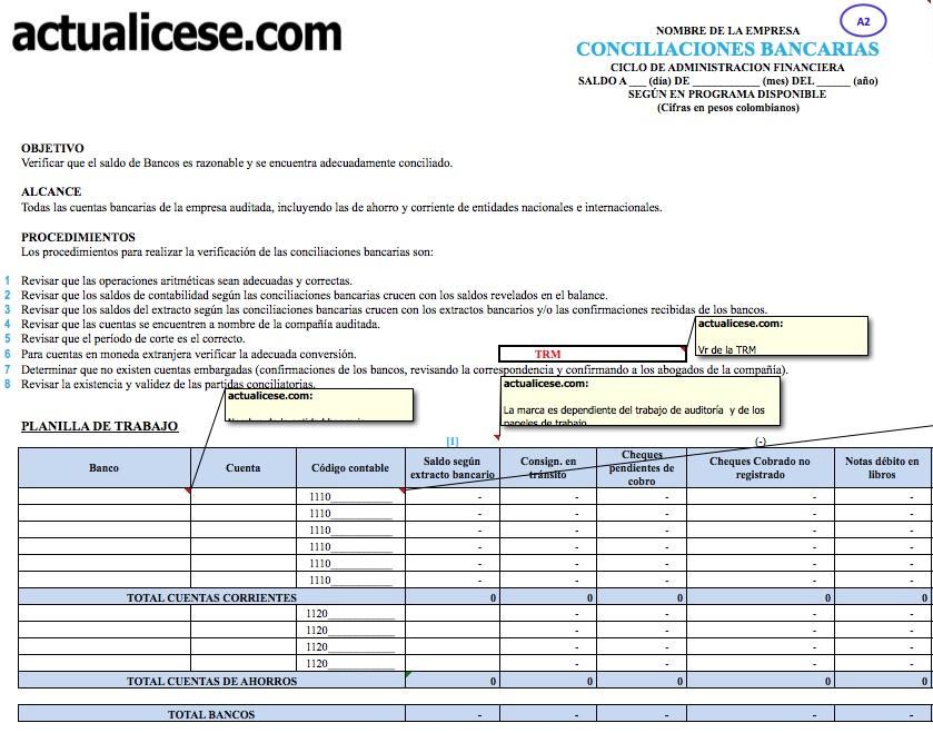 [Formato] Auditoría de conciliaciones bancarias