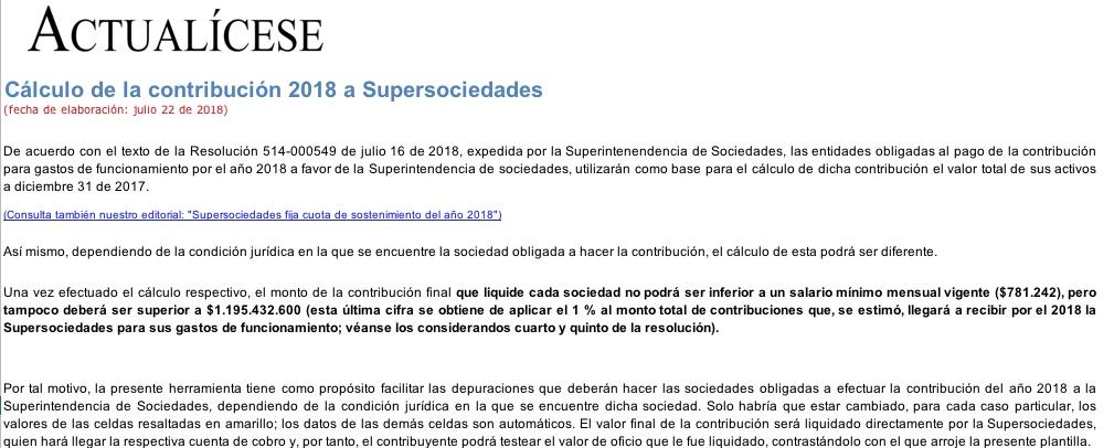 [Liquidador] Cálculo de la contribución 2018 a Supersociedades