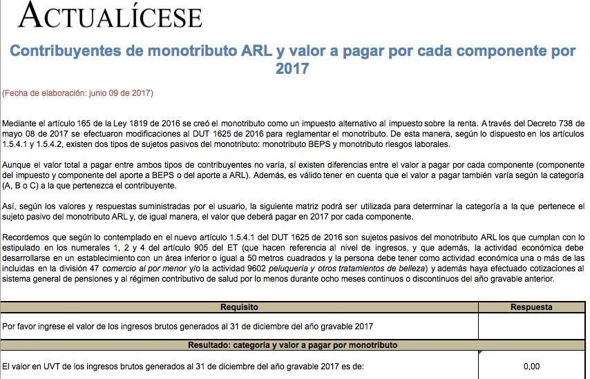 Contribuyentes de monotributo ARL y valor a pagar por cada componente por 2017