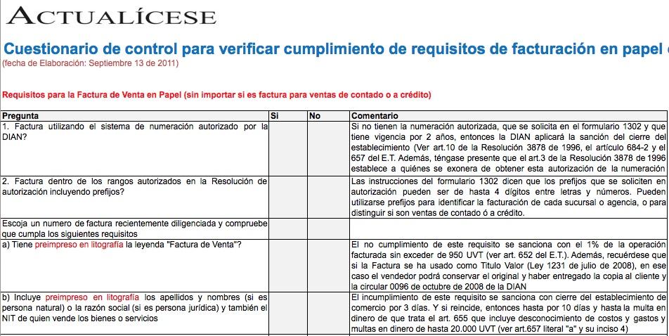 [Guía] Cuestionario de control para verificar cumplimiento de requisitos de facturación en papel o por computador