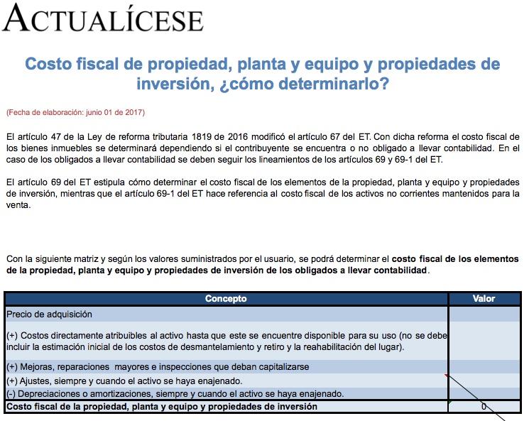 [Matriz] Costo fiscal de propiedad, planta y equipo y propiedades de inversión, ¿cómo determinarlo?