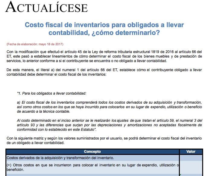 [Matriz] Costo fiscal de inventarios para obligados a llevar contabilidad, ¿cómo determinarlo?
