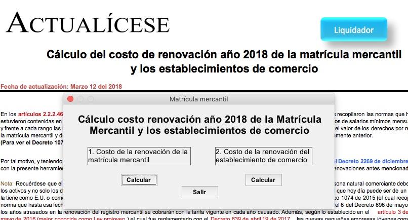 Costo de renovación 2018 de matrícula mercantil y establecimientos de comercio
