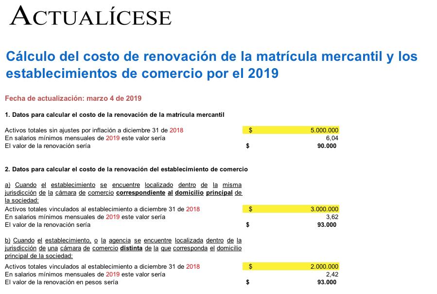 [Liquidador] Costo de renovación de matrícula mercantil y establecimientos de comercio en 2019