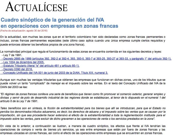 Cuadro sinóptico de la generación del IVA en operaciones con empresas en zonas francas