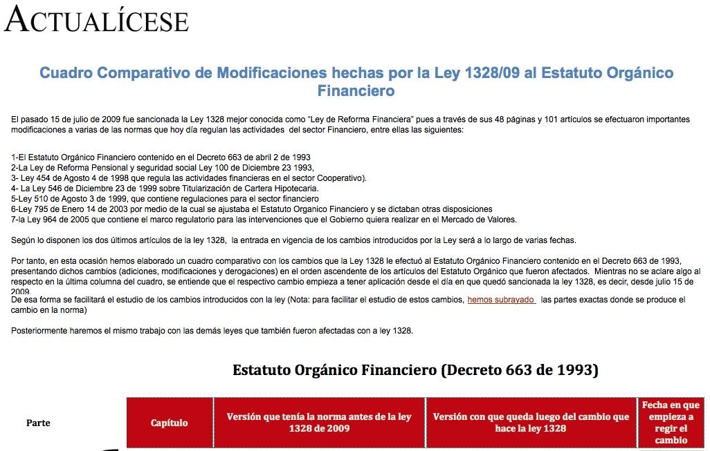 Guia Cuadro Comparativo De Modificaciones Hechas Por La Ley 1328 09