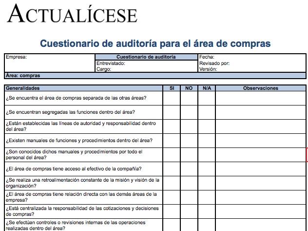 [Formato] Cuestionario de auditoría para el área de compras