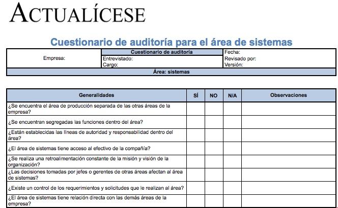 [Formato] Cuestionario de auditoría para área de sistemas
