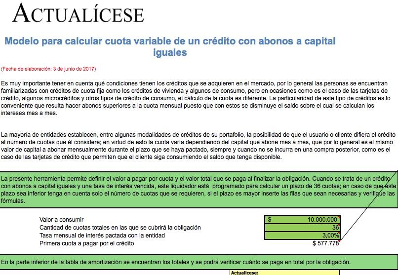 [Liquidador] Modelo para calcular cuota variable de un crédito con abonos a capital iguales