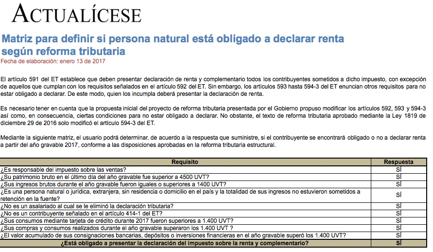 [Guía] Matriz para definir si una persona natural está obligada a declarar renta de acuerdo con la reforma tributaria