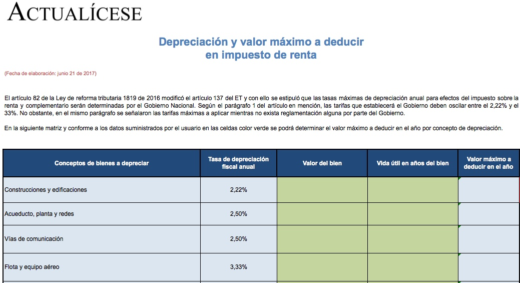 [ORO] Depreciación y valor máximo a deducir en impuesto de renta