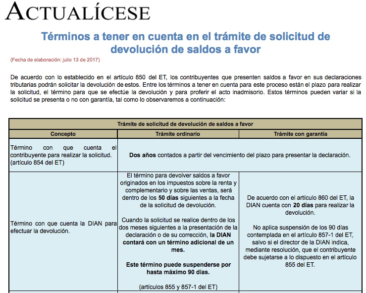 [Guía] Términos a tener en cuenta en el trámite de solicitud de devolución de saldos a favor