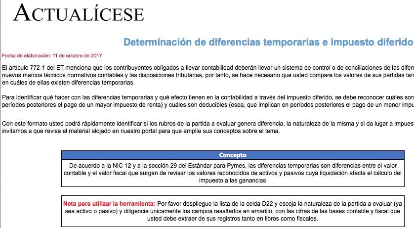 [Liquidador] Determinación de diferencias temporarias e impuesto diferido