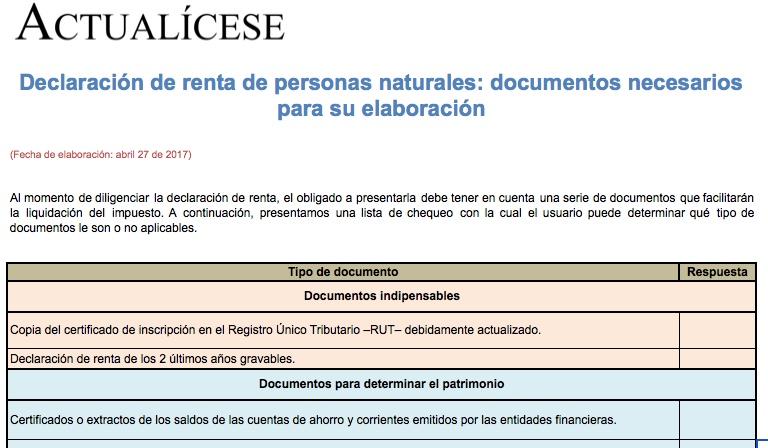 [Guía] Declaración de renta de personas naturales: documentos necesarios para su elaboración