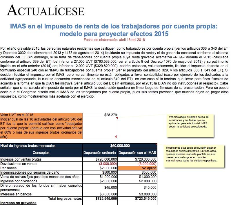 [Liquidador] IMAS en el impuesto de renta de los trabajadores por cuenta propia: modelo para proyectar efectos 2015