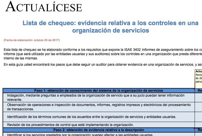[Guía] Lista de chequeo: evidencia relativa a los controles en una organización de servicios