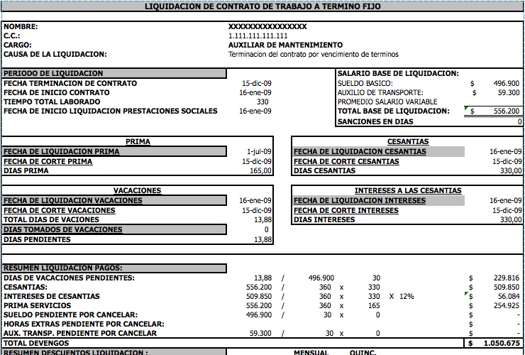 Liquidador contrato de trabajo a término fijo – Fredy Robinson Gil Zea