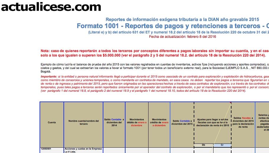 [ORO] Formato 1001: información de pagos o causaciones a terceros durante el 2015 y las retenciones practicadas o asumidas sobre los mismos. Caso 2