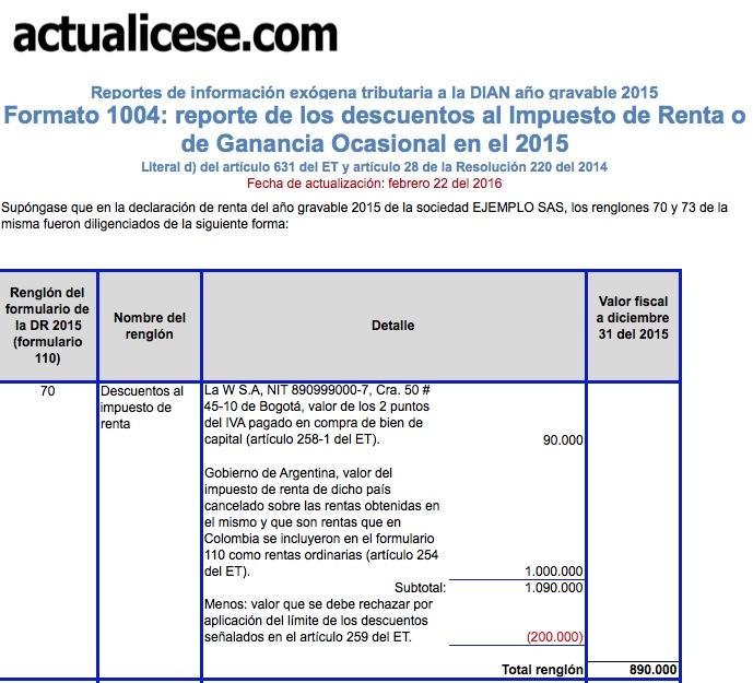 [ORO] Formato 1004: reporte de los descuentos al Impuesto