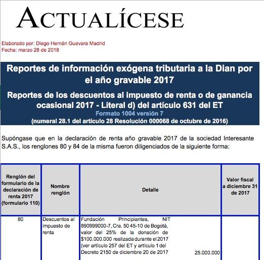 Formato exógena 1004 por 2017: reporte de descuentos al impuesto de renta y ganancia ocasional