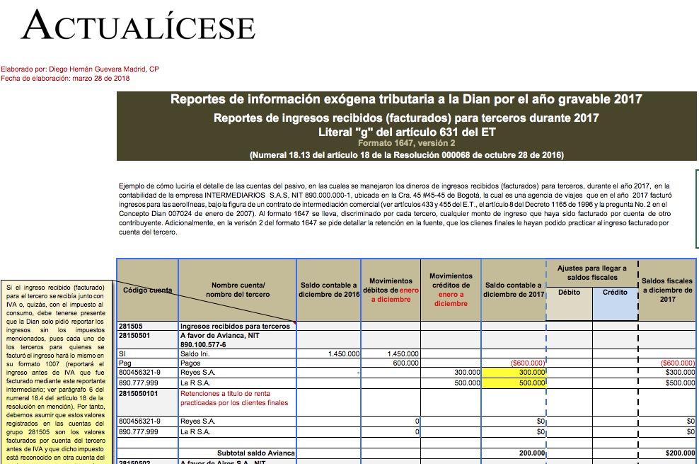 Formato exógena 1647 por el año gravable 2017: reporte de ingresos recibidos para terceros