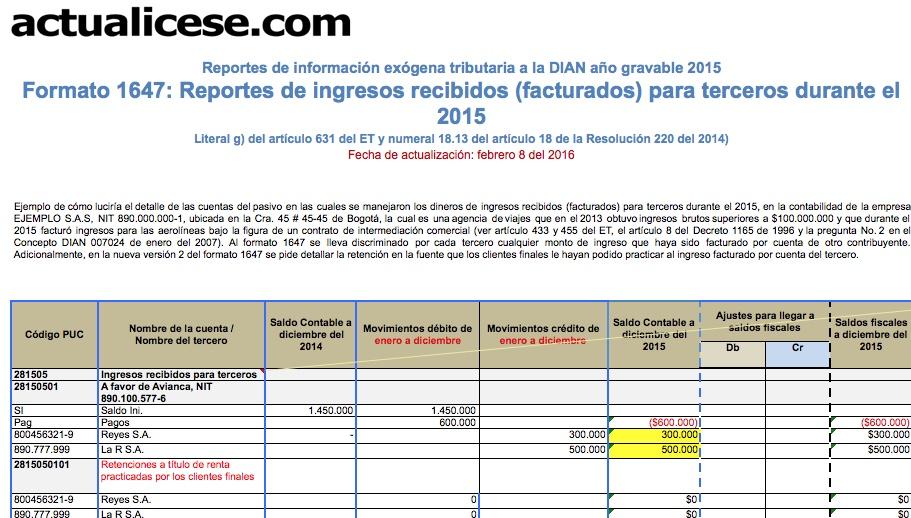 Formato 1647: reportes de ingresos recibidos (facturados) para terceros durante el 2015