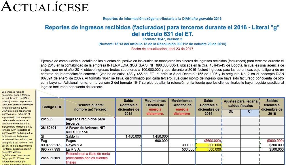 Formato 1647 por 2016: reportes de ingresos recibidos para terceros