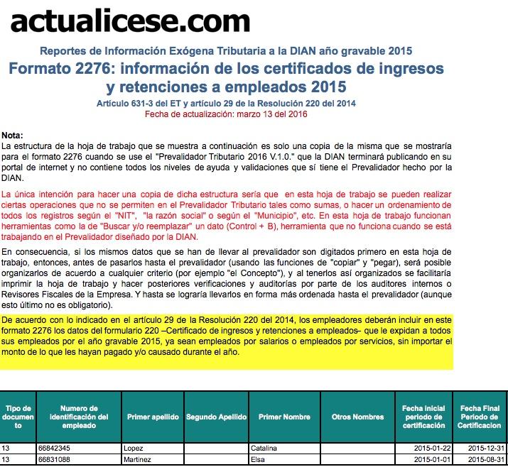 Formato 2276: información de los certificados de ingresos y retenciones a empleados año 2015