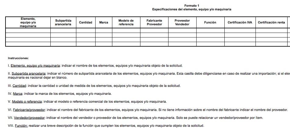 """Formato """"Especificaciones del elemento, equipo y/o maquinaria"""" para acceder a incentivos de la Ley 1715"""