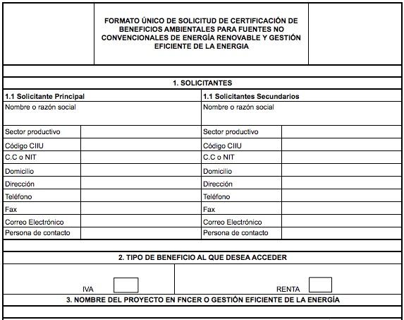 Formato único de solicitud de certificación de beneficios ambientales