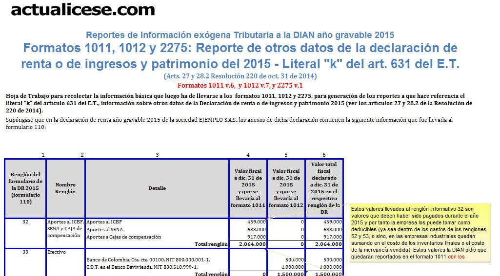 [Formato] Formatos 1011, 1012 y 2275: reportes de otros datos de la declaración de Renta o de Ingresos y Patrimonio del 2015