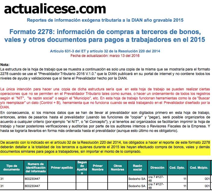 Formato 2278: información de compras a terceros de bonos, vales y otros documentos para pagos a trabajadores en el 2015