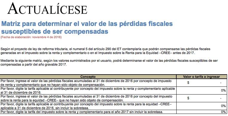 [Guía] Matriz para determinar el valor de las pérdidas fiscales susceptibles de ser compensadas