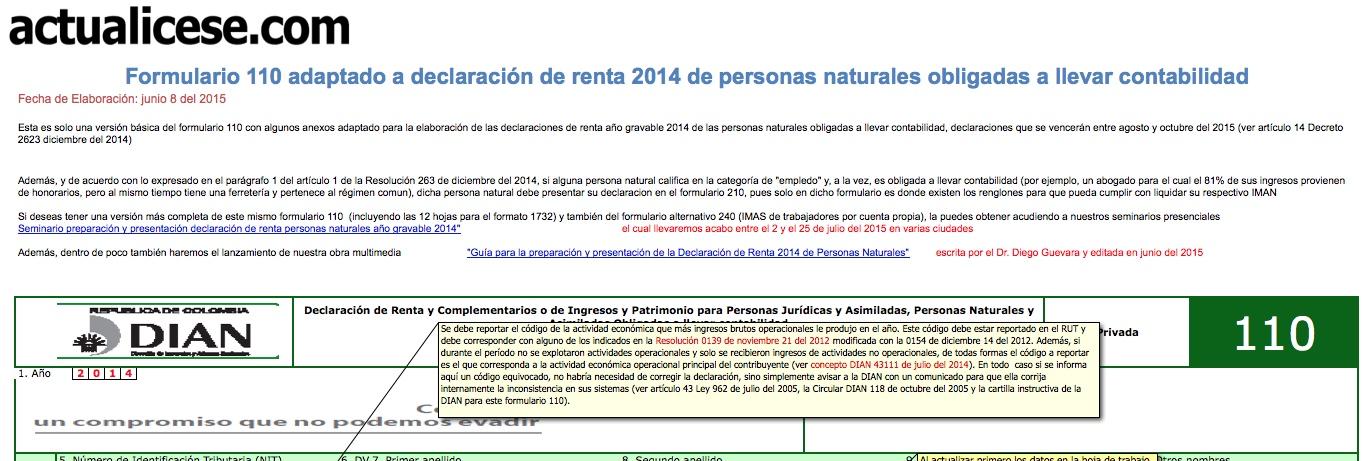 Formulario 110 adaptado para Declaración de Renta 2014 de Personas Naturales. Versión básica
