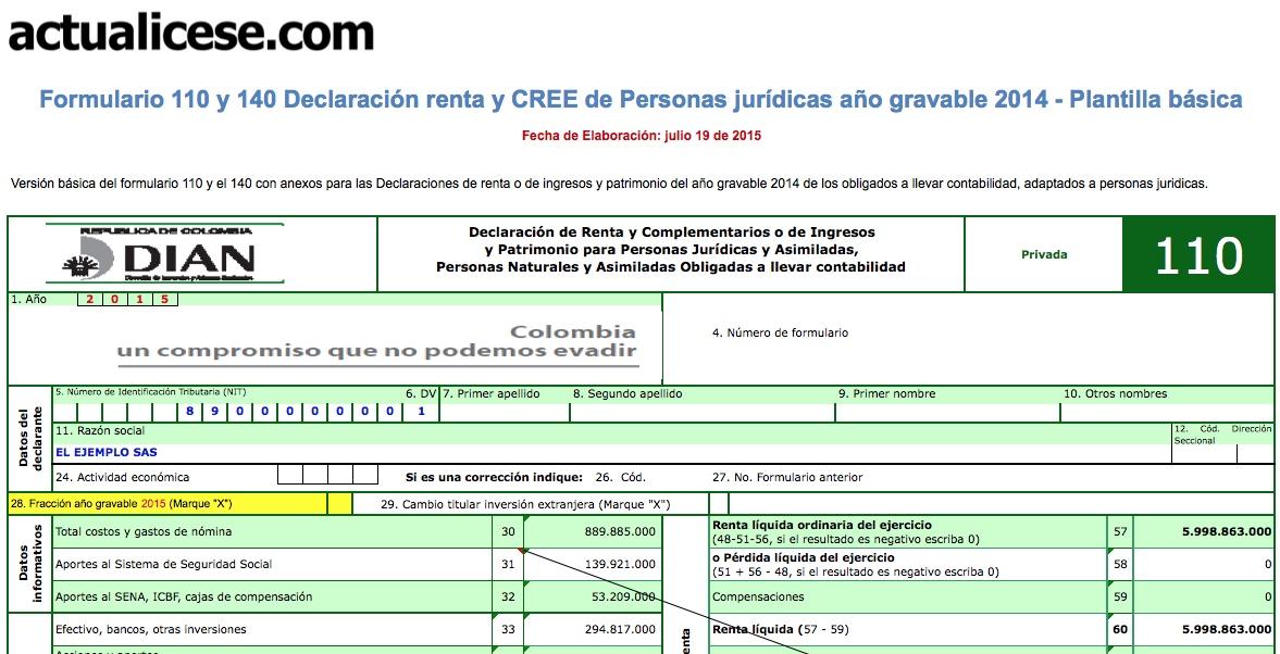 Formularios 110 y 140 declaración Renta y CREE personas jurídicas fracción año gravable 2015 – versión básica