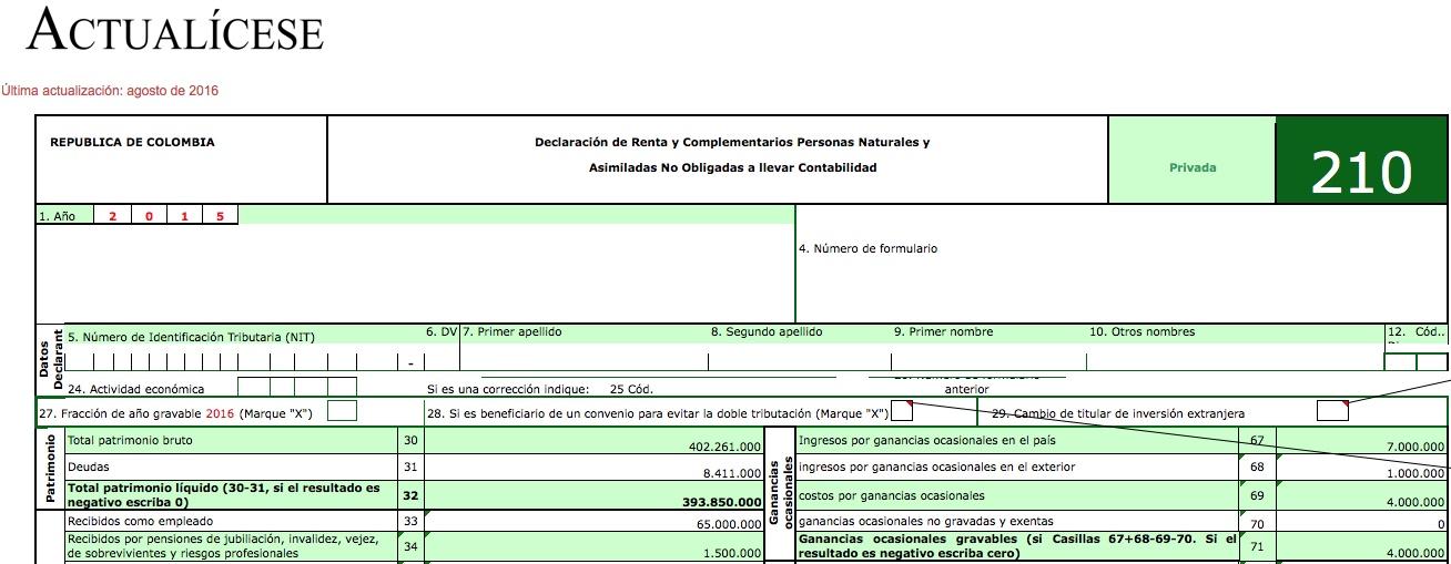Liquidador básico] Formulario 210 Declaración de Renta Personas ...