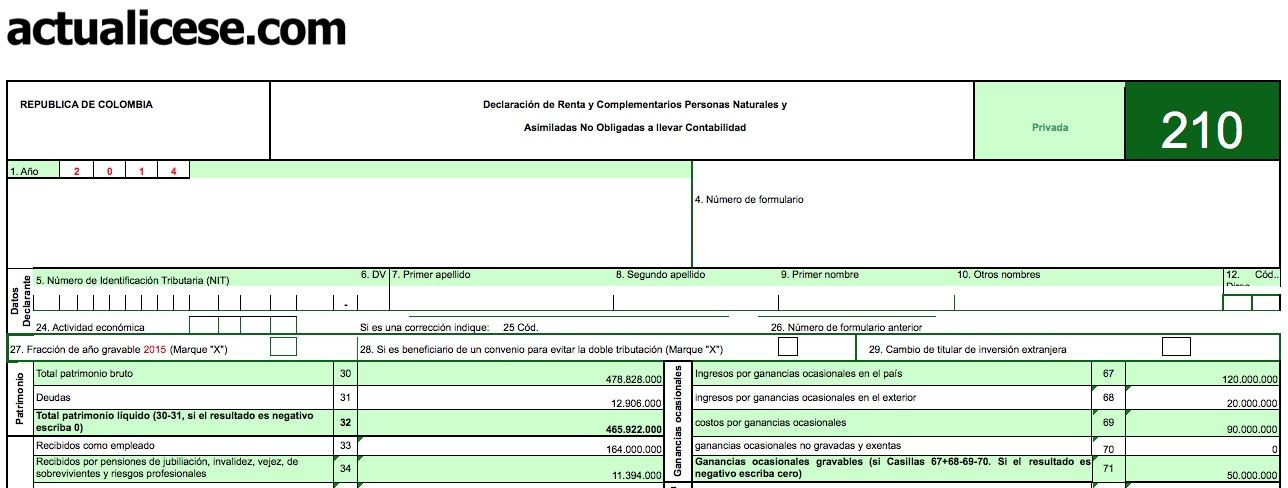 Formulario 210 para Declaración de Renta 2014 de Personas Naturales. Versión básica