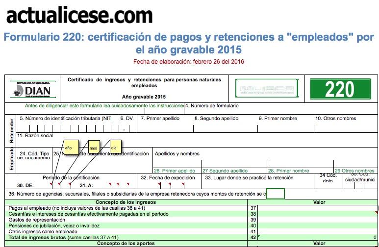 [ORO] Formulario 220: certificación de pagos y retenciones a empleados por el año gravable 2015