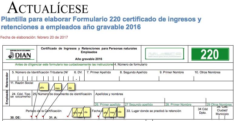[Formato] Plantilla para elaborar Formulario 220 certificado de ingresos y retenciones a empleados año gravable 2016