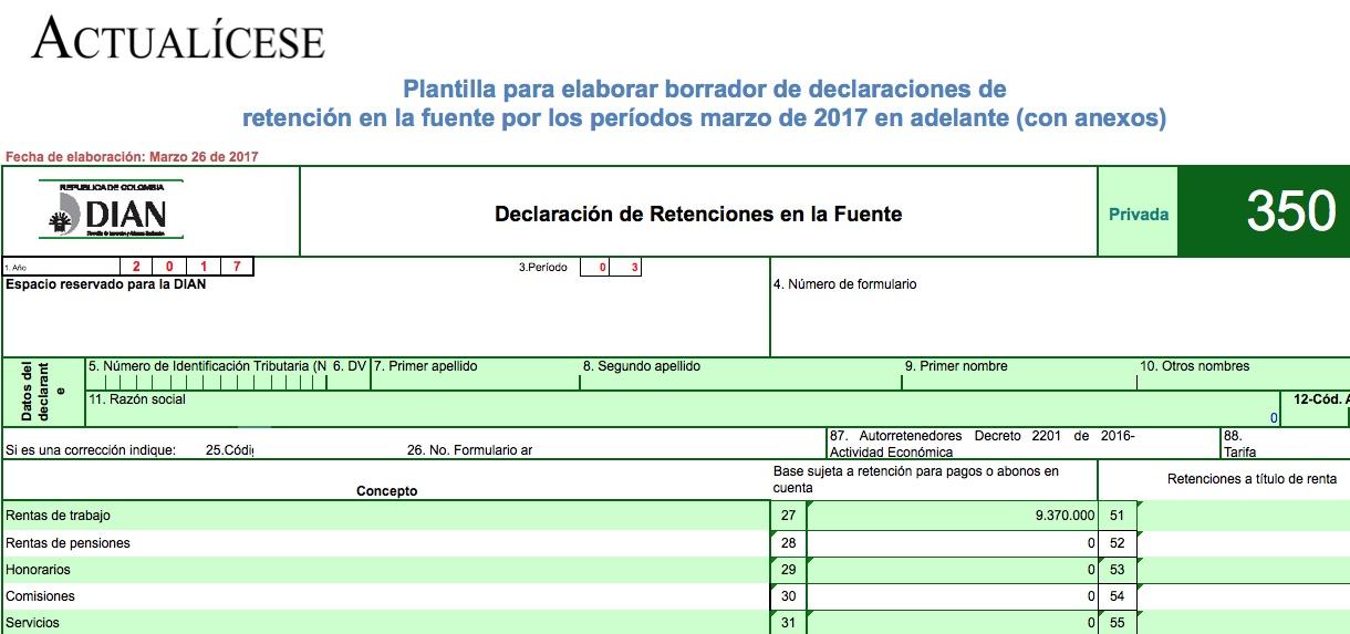 ORO] Plantilla para elaborar borrador de formulario 350 de marzo de ...