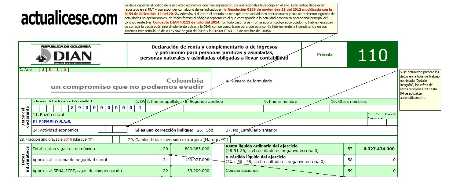Formularios 110 y 140 con anexos y formato 1732 año gravable 2015