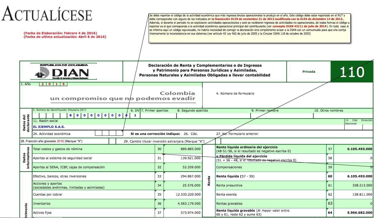 [ORO] Formularios 110 y 140 con anexos y formato 1732 año gravable 2015