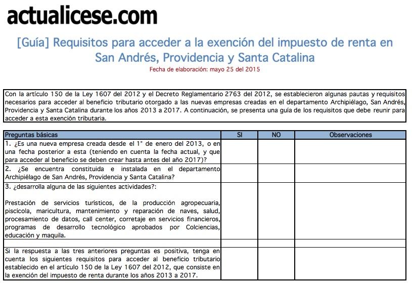 [Guía] Requisitos para acceder a la exención del impuesto de renta en San Andrés, Providencia y Santa Catalina