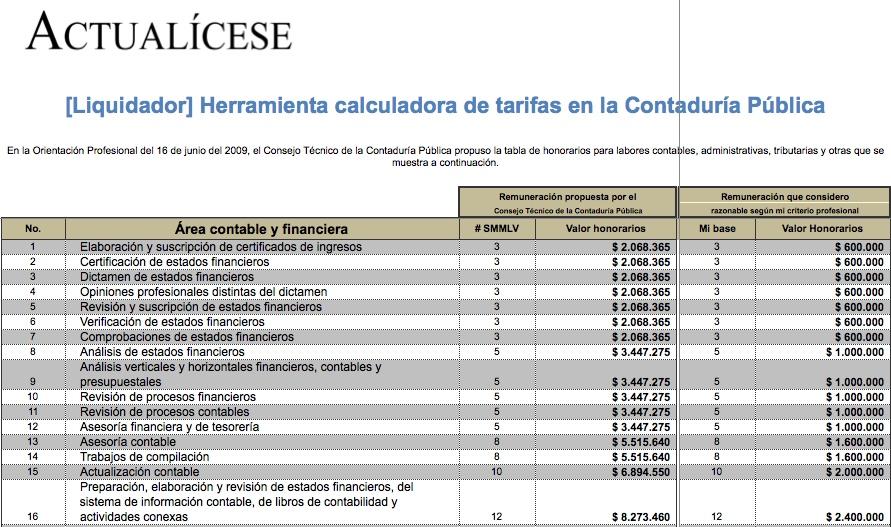 [Liquidador] Herramienta calculadora de tarifas en la Contaduría Pública