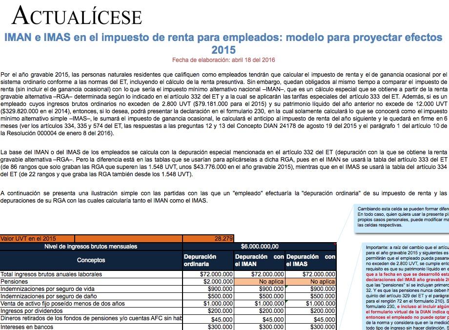 [Liquidador] IMAN e IMAS en el impuesto de renta para empleados: modelo para proyectar efectos 2015