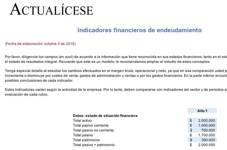 [Liquidador] Indicadores financieros de endeudamiento