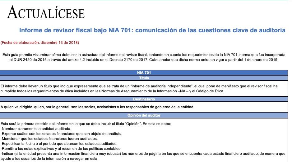 [Guía] Informe de revisor fiscal bajo NIA 701: comunicación de las cuestiones clave de auditoría