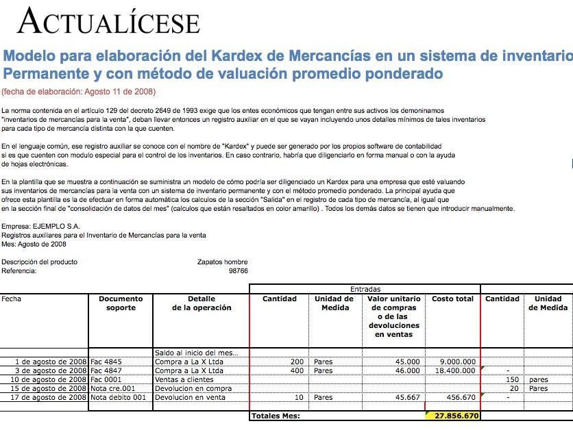 [Liquidador] Modelo para elaboración del Kardex de Mercancías con Método de Valuación Promedio Ponderado